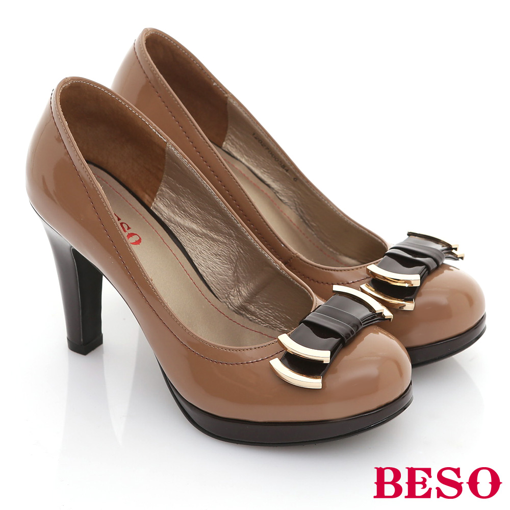 BESO古典女伶-復古鏡面撞色金屬平結高跟鞋-卡其