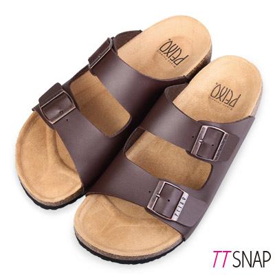 TTSNAP涼拖鞋-MIT真皮整體包覆足弓休閒涼拖鞋 咖