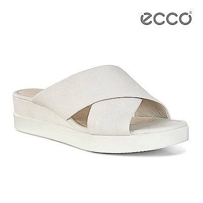 ECCO TOUCH SANDAL PLATEAU 厚底寬帶交叉涼鞋-白