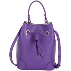 FURLA STACY BUCKET 防刮皮革抽繩束口兩用水桶包(MINI/紫色)