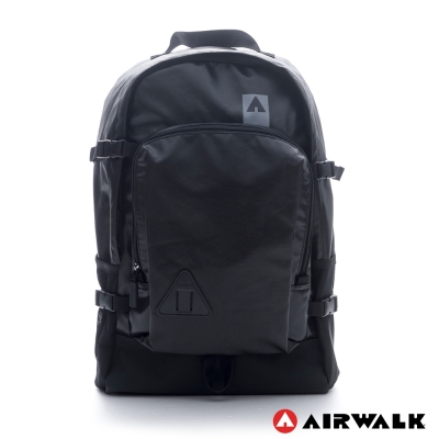 AIRWALK-紐約客仿皮輕量感極機密後背包-黑