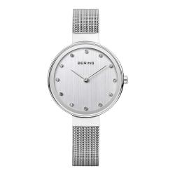 BERING丹麥精品手錶 晶鑽刻度米蘭帶系列 銀色34mm