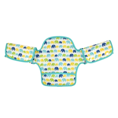 日本 LUCKY (揹巾專用)展翅飛翔360度環繞式口水墊(粉綠大象)