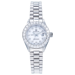 Olympia Star 奧林比亞之星 晶燦鑽錶-銀/28mm