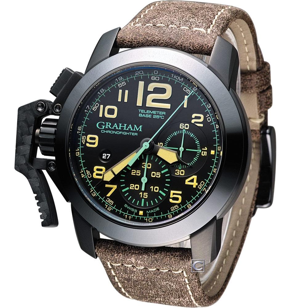 GRAHAM Chronofighter Oversize 左冠計時機械腕錶-咖啡/46mm