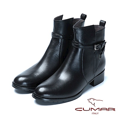 CUMAR經典時尚簡約細皮帶造型短靴-黑