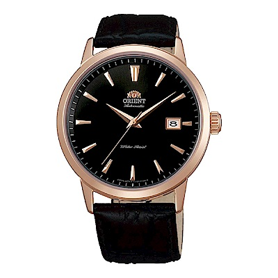 ORIENT 當代時尚玫瑰金自動上鍊機械腕錶(FER27002B0)-黑/41mm