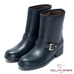 CUMAR雨天時尚 經典仿皮紋造型短雨靴-藍色