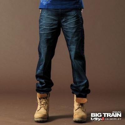 BIG TRAIN-低腰鬚邊繡花垮褲-深藍