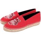KENZO Tiger 老虎刺繡帆布草編便鞋(紅色)