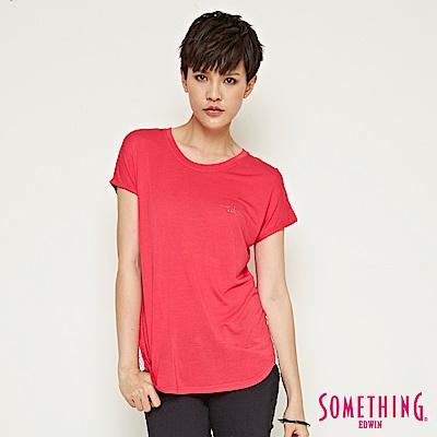 SOMETHING 都會簡約點點拼接造型T恤-女-桃紅色