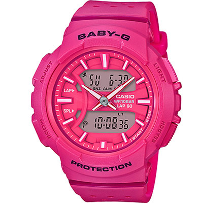 Baby-G 城市慢跑運動錶(BGA-240-4A)-桃紅42.6mm