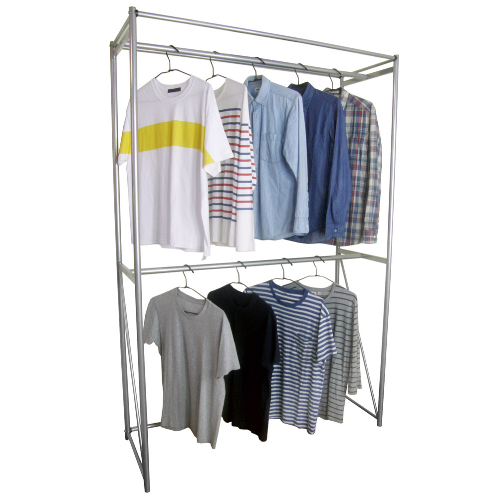 Dr. DIY 120公分寬-鋼管(雙桿)吊衣架/吊衣櫥(附布套13色可選)