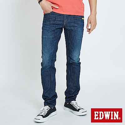 EDWIN E-F3片機能裁剪直筒牛仔褲 -男-中古藍