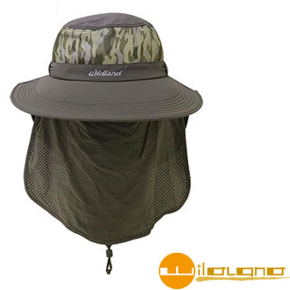 【荒野 WildLand】中性抗UV收納式遮陽帽.護頸帽_深灰