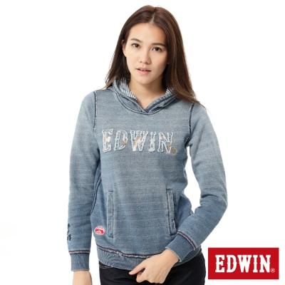 EDWIN江戶勝-日風刺繡漸層連帽長袖T恤-女-藍