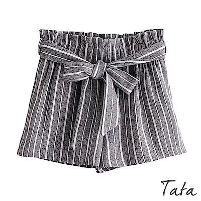 鬆緊腰條紋短褲(配腰帶)共二色 TATA