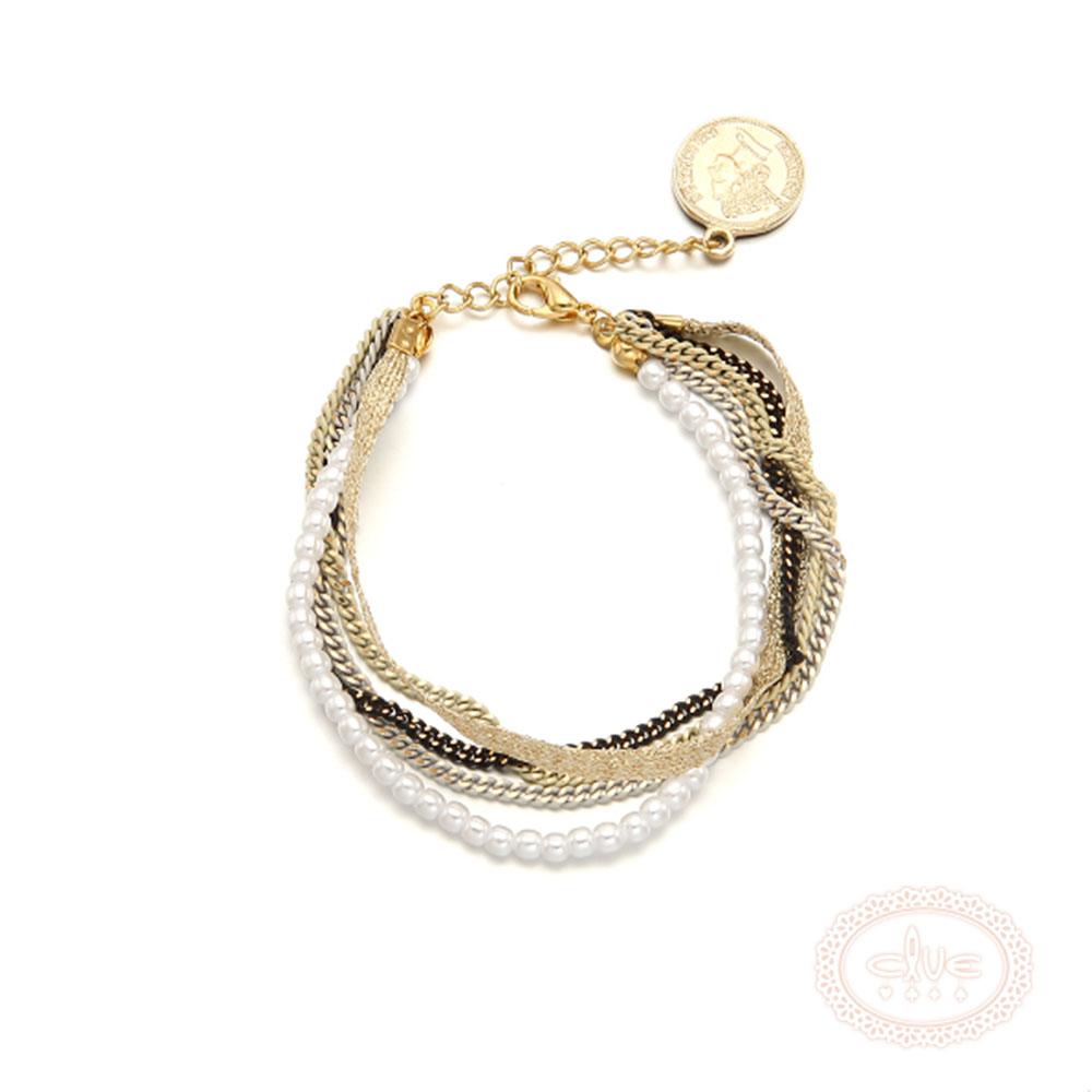 CLUE 韓國進口 鍍K金 珍珠黑鍊三色 手鍊