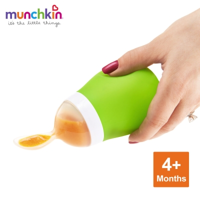 munchkin滿趣健-擠壓式餵食湯匙-綠