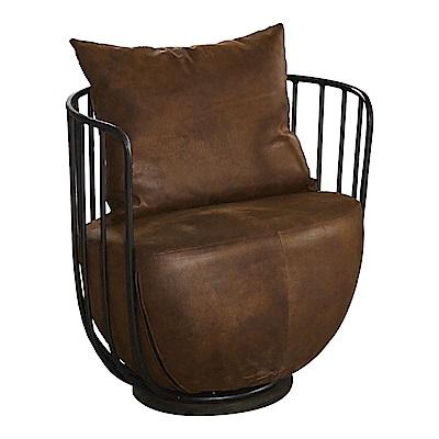 AT HOME-工業風設計柵欄式鐵藝仿舊咖啡布沙發椅(59*71*67cm)