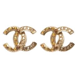 CHANEL 香奈兒經典雙C LOGO水鑽拼接寶石鑲嵌造型穿式耳環(金)