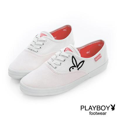 PLAYBOY-青春活力-簡約素色時尚帆布鞋-白-女