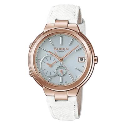 SHEEN 優雅智慧藍芽傳輸太陽能日曆皮帶腕錶(SHB-200CGL-7A)白色/35mm
