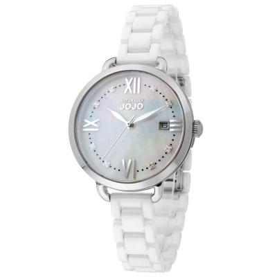 NATURALLY JOJO 氣質愛慕陶瓷腕錶(耶誕特別款)珍珠母貝-白/銀-36mm