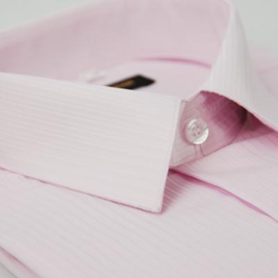 金‧安德森 粉紅色仿絲質細紋窄版短袖襯衫