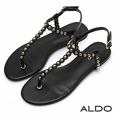 ALDO 原色金屬釦帶鉚釘圓珠T字繫帶夾腳涼鞋~尊爵黑色