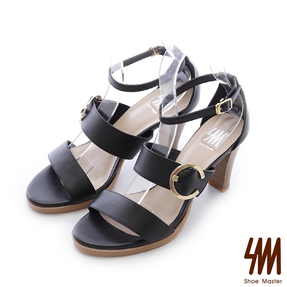 SM-台灣真皮-經典扣帶一字中高粗跟涼鞋-黑色