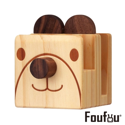 Foufou 木質眼鏡架/手機架-微笑的熊