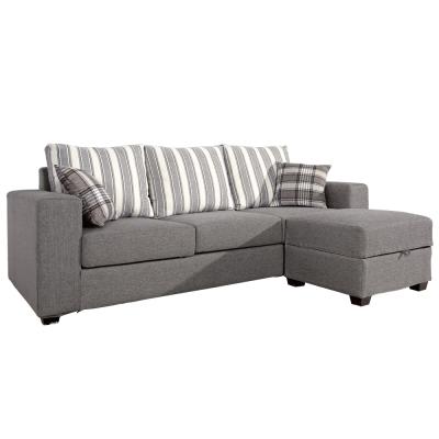 沙發 L型 夏利特棉麻布面三人+凳L型沙發 品家居