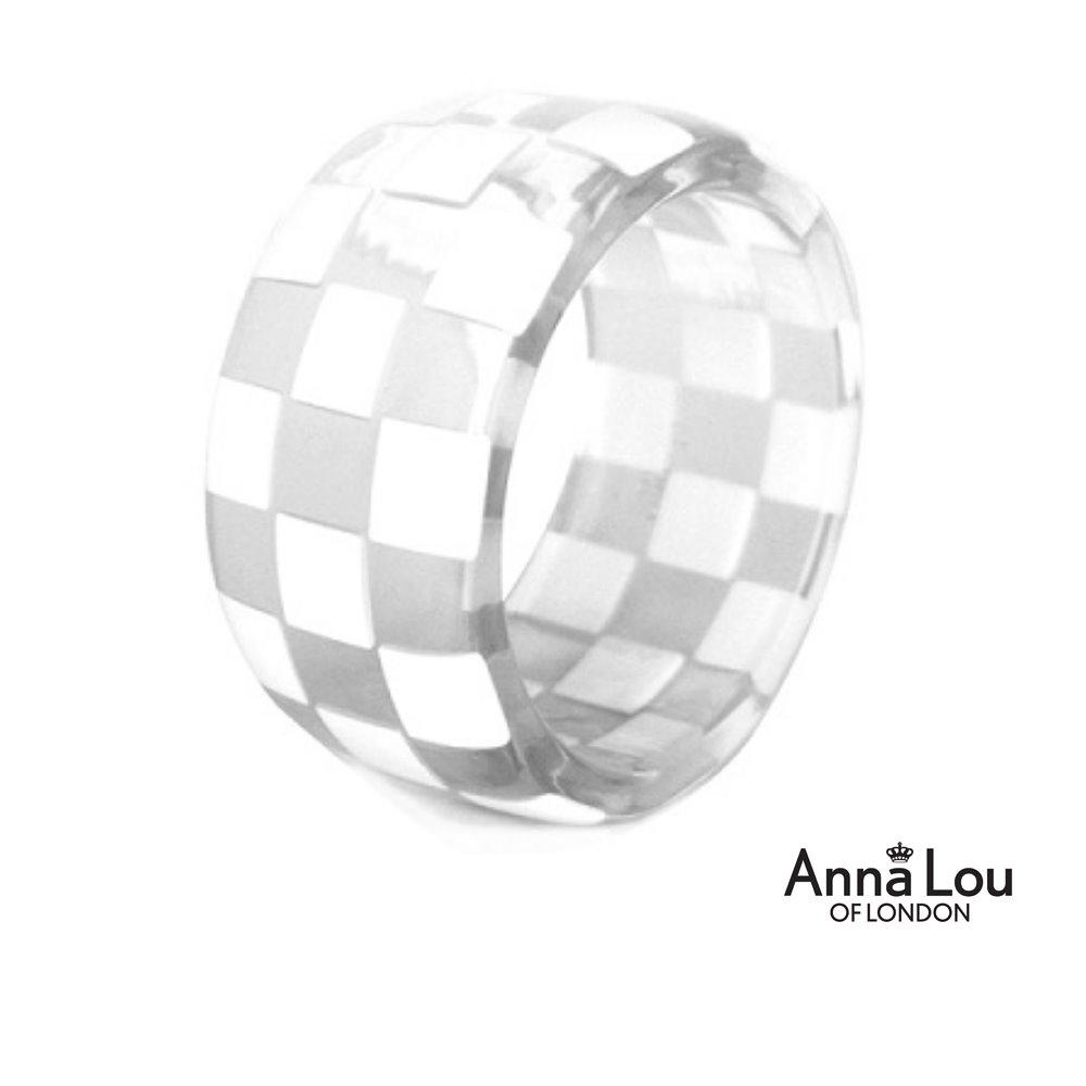 Anna Lou OF LONDON倫敦品牌checkerboard棋盤方格透明手環~白