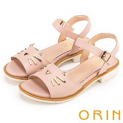 ORIN 甜美童趣 貓咪荔枝紋牛皮粗低跟涼鞋-粉色