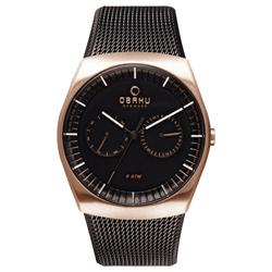 OBAKU 浩瀚星宇雙眼日期腕錶-玫瑰金框x黑米蘭帶/40mm