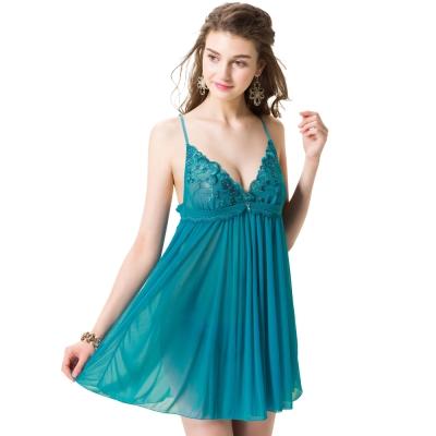 思薇爾 羽戀之迷Ⅱ系列連身蕾絲刺繡性感小夜衣(搪瓷藍)