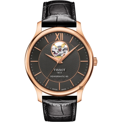 TISSOT 天梭 Tradition 80小時動力鏤空機械腕錶-灰x玫瑰金框/40mm T0639073606800