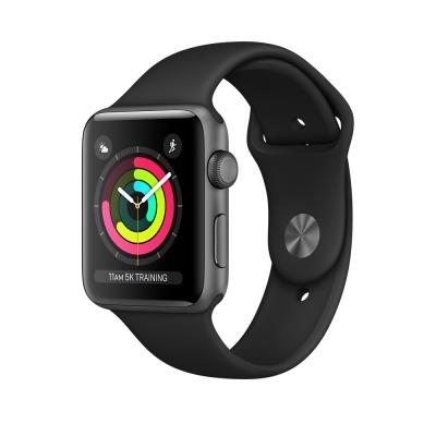 Apple Watch Series 3 GPS,42mm太空灰色鋁金屬錶殼/黑色運動錶帶