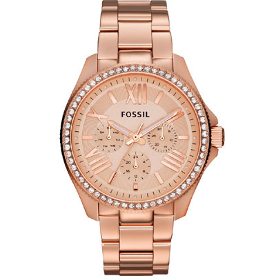 FOSSIL Cecile 羅馬時尚日曆晶鑽腕錶-玫塊金/40mm