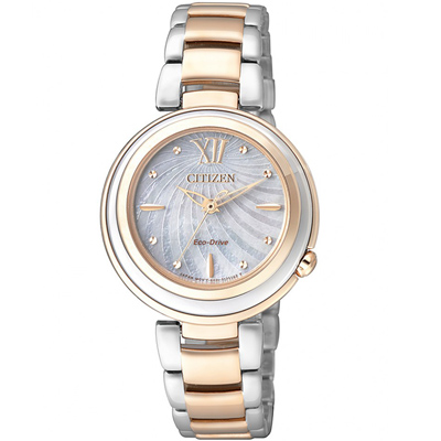 CITIZEN  瑰麗亮眼貝殼時尚腕錶(EM0335-51D)-銀x金/30mm
