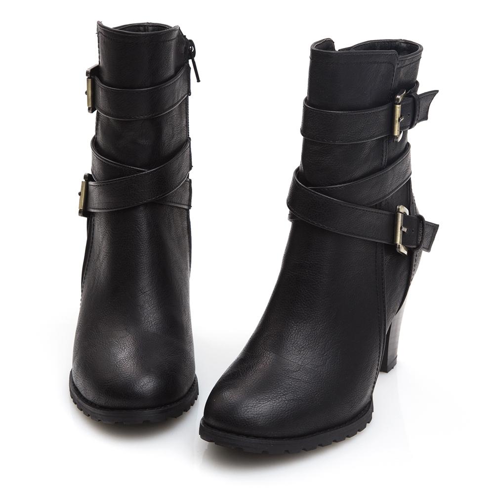 Camille's 韓國空運-皮帶釦繞踝高跟靴-黑色