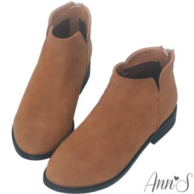 Ann'S休閒率性-復古雙V車線平底短靴-棕