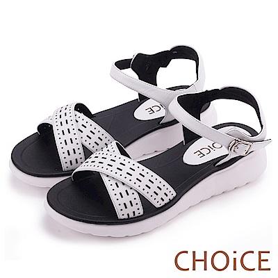 CHOiCE 親膚舒適  皮革幾何簍空交叉厚底涼鞋-白色