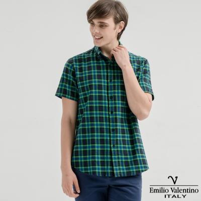Emilio Valentino范倫提諾水洗格紋襯衫-深綠