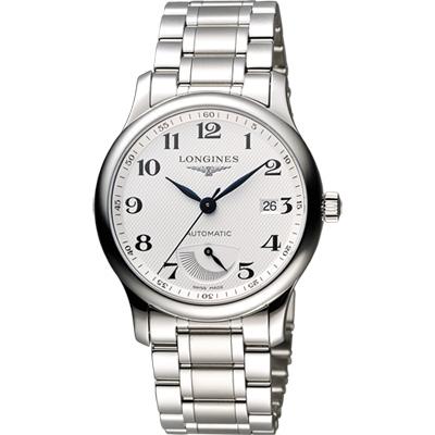 LONGINES Master 巨擘系列動力儲存顯示機械錶-銀/38.5mm