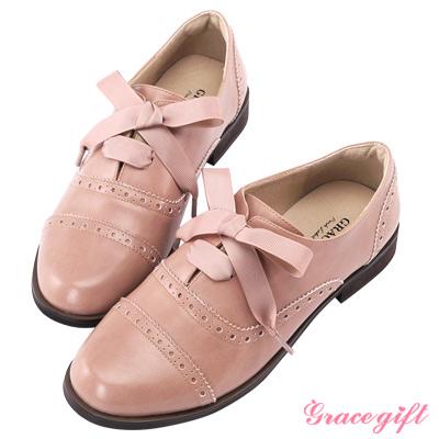 Grace gift-織帶雕花綁帶牛津鞋 深粉