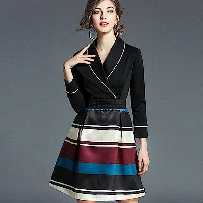 ABELLA 艾貝拉 白邊翻領亮面拼色條紋短裙收腰洋裝(M-2XL)