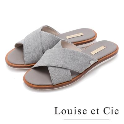 Louise et Cie 優雅美型 交叉寬版布面平底拖鞋-灰色