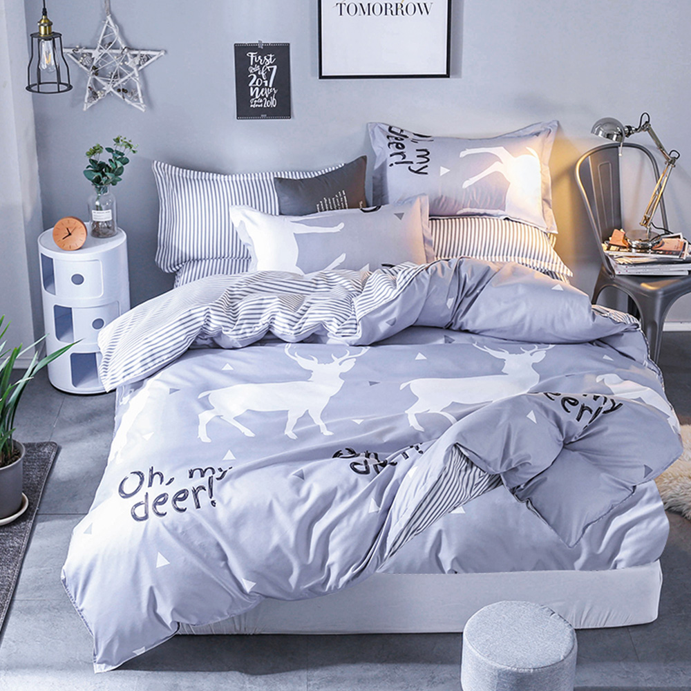 Ania Casa約定麋鹿 單人三件式 柔絲絨美肌磨毛 台灣製 單人床包被套三件組